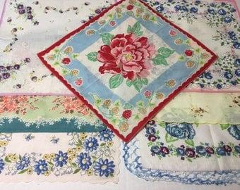 7 Printed Floral Handkerchiefs, Vintage Colorful Assortment of Ladies Hankies