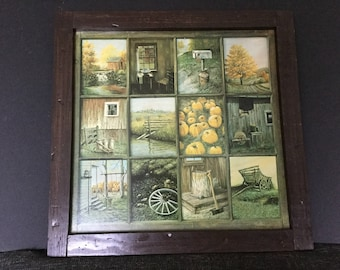 Homco 70s Window Pane Picture, B. Mitchell Rustic, Fall Country 12 Scenes in Window Panes, Home Interiors