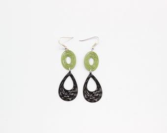 /Crochets 925 Sterling Silver earrings / drop Laser cut black / oval Laser cut green