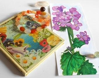 watercolor painting flower fields-unique original fuchia @méka drepth
