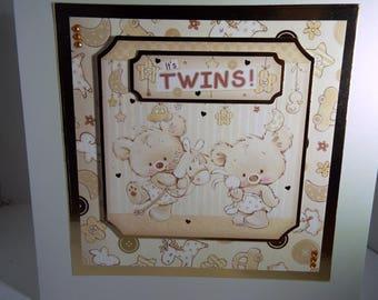 Twins baby  card handmade