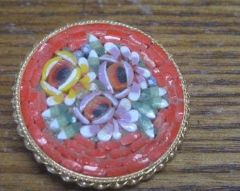 Flower Brooch with red and gold background