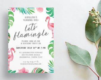 Tropical Birthday Party Invites / Watercolor Flamingo Palm Leaves / Semi-Custom Shower Invites / Girl Birthday / Print-at-Home Invitations
