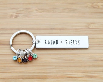hand stamped rodan and fields keychain | rodan + fields - rectangle