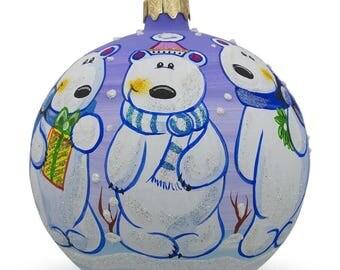 "4"" Three Polar Bears Glass Ball Christmas Ornament"