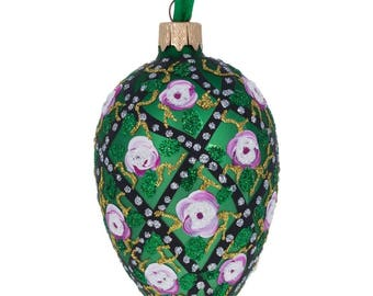 "4"" Rose Trellis Faberge Egg Glass Christmas Ornament"