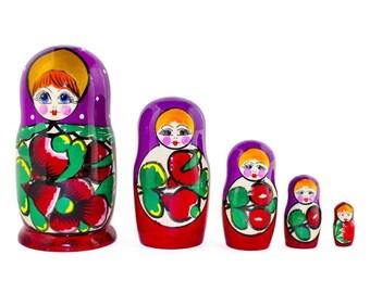 "6"" Set of 5 Maydanovskaya in Purple Scarf Russian Nesting Dolls Matryoshka"