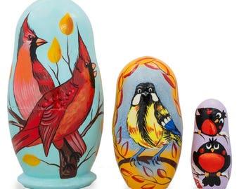 "4.25"" Set of 3 Birds- Cardinals & Finches Wooden Nesting Dolls"