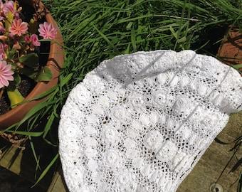 pretty, white, lace, antique, vintage, scull cap.