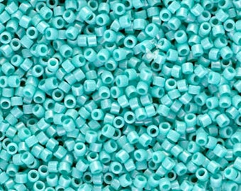 Miyuki Delica Seed Beads, Opaque Turquoise Green DB0729 (5gr), Size 11/0, DIY Jewelry Bead Supply