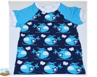 Baby T-Shirt sizes 74-80 helicopter blue white