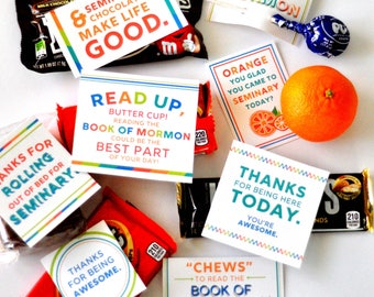 LDS Seminary Book of Mormon Candy Tags