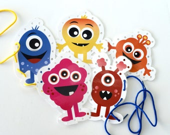Monster Sewing/Lacing Printable Cards | Printable Download Monster Sewing (Lacing) Cards