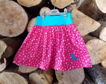 "skirt ""fairy"" printed pink star available in the 2-9 years"