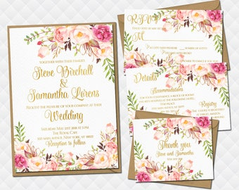 Floral Wedding Invitation set Printable Boho Invite Suite Bohemian white pink roses bouquet peonies RSVP details inserts Thank you cards