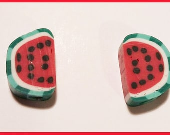 2 watermelon - fimo polymer clay fruit charms beads