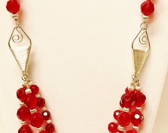 Ruby Red Necklace and Earrings