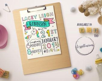 Personalised, Baby Gift, Nursery Decor, Unicorn - Digital Printable