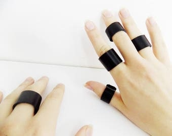 Set Of Black Leather Rings/ Goth Black Leather Rings/Punk Rock Black Leather Rings/Hipster Black Leather Rings/Vamp Leather Rings
