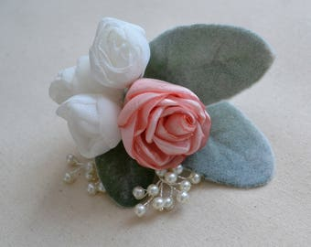 Pink rose hair clip, flower hair accessory, hair flower, bridal headpiece, bridesmaid hair accessory, wedding hair piece