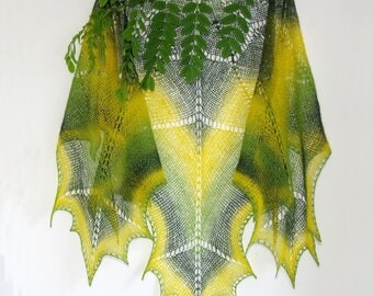 Hand knit shawl wool shawl in green and yellow gift for her shawl wrap lace shawl wedding wrap scarf for woman shawl present wrap scarf