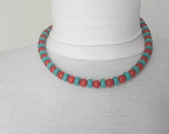 Necklace with Turquoise and coral red
