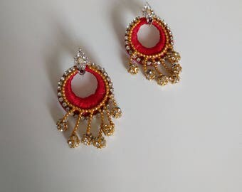 Silk thread jewelled royal indian earring