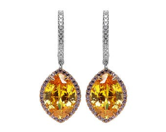 Sparkling Citrine Marquise Earrings
