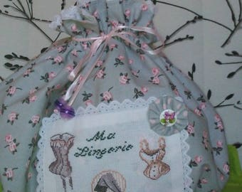 For hand embroidered lingerie bag