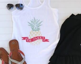 Pineapple BE Sweet White Racerback Tank