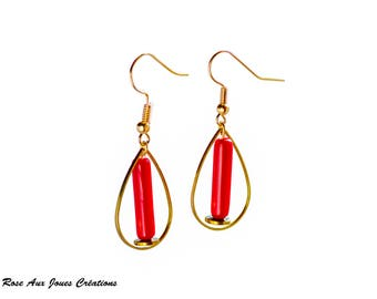 Earrings drops original gold and Red
