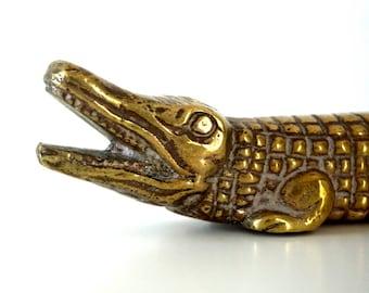 Vintage Solid Brass Alligator - Brass Paperweight - Mid Century - Desk Decor