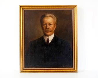 Antique Large Portrait Painting - Edwardian Era Mustachioed Man - Original Oil Painting - Large Portrait Painting - Male Portrait Painting