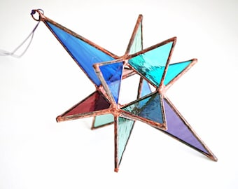 Medium colorful stained glass Moravian star, stained glass Christmas star of Bethlehem, glass suncatcher, stained glass star, 3-D glass star