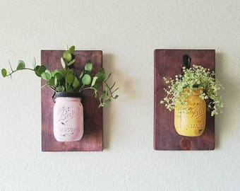 Rustic charm! Hanging wood / vertical planter  mason jar with living succulent ( can be paint any color)