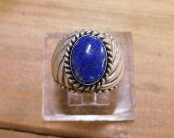 Blue Lapis Sterling Silver Ring Size 8.5