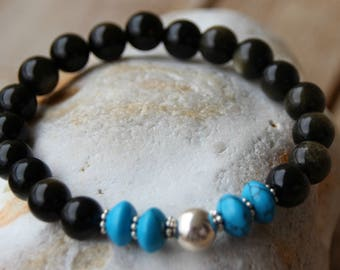 dyed howlite and Obsidian bracelet
