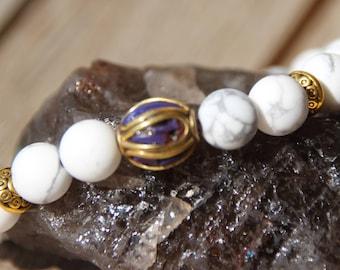 howlite and Tibetan Bead Bracelet