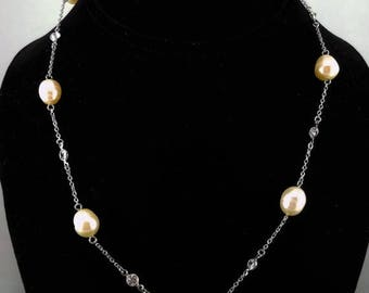 ON SALE Baroque Cultured Freshwater Pearl, CZ and Silver Chain Link Necklace