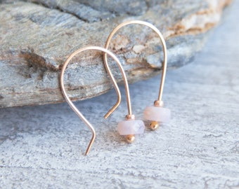 Pink Opal Earrings, Rose Gold Pink Opal Earrings, Rose Gold Opal Earrings, Pink Opal Rose Gold Earrings, Opal October Birthstone Earrings