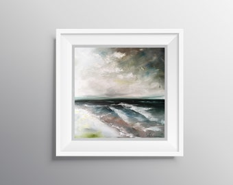 Moody - Physical Print of Abstract Overcast Seascape with Dark Waves Painting (Multiple Sizes)