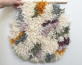 Circular Fuzzy Neutral Sage Purple Mustard Grey/ Wall Hanging / Latch Hooking
