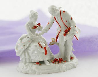 Delicate Sweet German Figurine,  Schaubach Kunst, courting couple, white porcelain base, with orange-red and goldcolor trimming, c1940