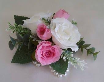White & Pink Rose Wrist Corsage
