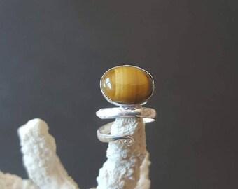 Tiger eye Tiger stone ring, silver ring, solid sterling silver ring, sterling silver ring adjustable