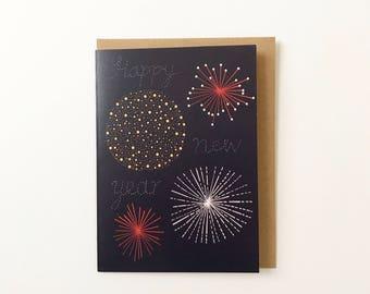 Fireworks Happy New Year Card