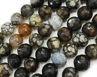 "10mm Agate Beads , Black agate beads , Semiprecious Stone Beads , Round agate Beads , Gemstone beads, faceted agate beads 15"" Strand"