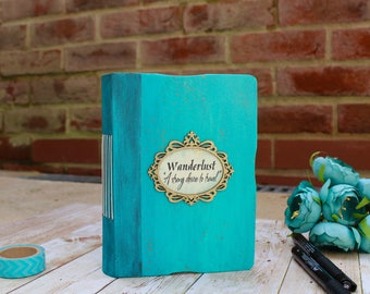 Wanderlust Personalized Travel journal, Turquoise blue Journal