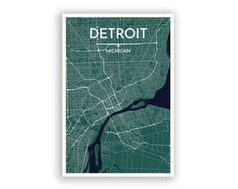 Detroit map poster Etsy