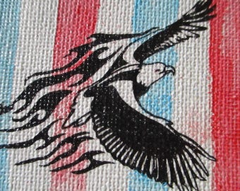 Eagle on red white and blue water colour